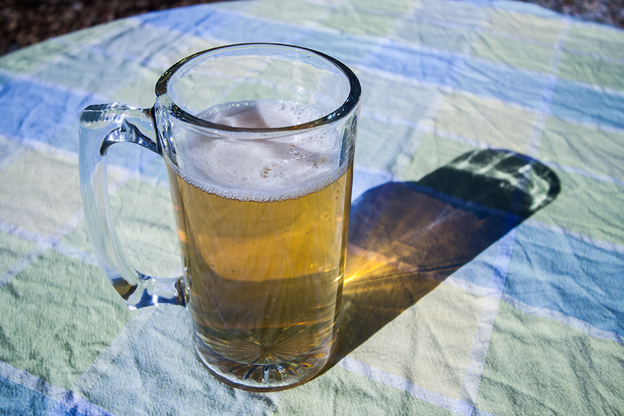 The ginger beer shandy casts a pretty shadow.